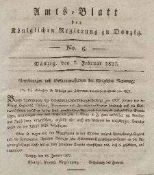 Amts-Blatt der Königlichen Regierung zu Danzig, 7. Februar 1827, Nr. 6