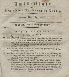 Amts-Blatt der Königlichen Regierung zu Danzig, 1. August 1827, Nr. 31