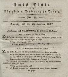 Amts-Blatt der Königlichen Regierung zu Danzig, 26. September 1827, Nr. 39