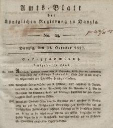 Amts-Blatt der Königlichen Regierung zu Danzig, 31. Oktober 1827, Nr. 44