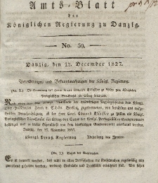 Amts-Blatt der Königlichen Regierung zu Danzig, 12. Dezember 1827, Nr. 50