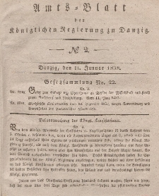 Amts-Blatt der Königlichen Regierung zu Danzig, 11. Januar 1838, Nr. 2