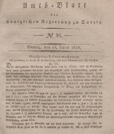 Amts-Blatt der Königlichen Regierung zu Danzig, 18. April 1838, Nr. 16