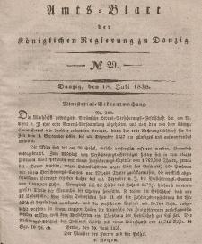 Amts-Blatt der Königlichen Regierung zu Danzig, 18. Juli 1838, Nr. 29