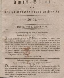 Amts-Blatt der Königlichen Regierung zu Danzig, 1. August 1838, Nr. 31