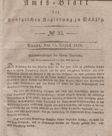 Amts-Blatt der Königlichen Regierung zu Danzig, 15. August 1838, Nr. 33