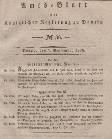 Amts-Blatt der Königlichen Regierung zu Danzig, 5. September 1838, Nr. 36