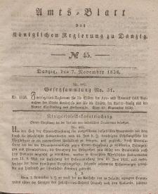 Amts-Blatt der Königlichen Regierung zu Danzig, 7. November 1838, Nr. 45