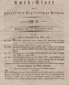 Amts-Blatt der Königlichen Regierung zu Danzig, 28. Novemver 1838, Nr. 48