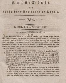Amts-Blatt der Königlichen Regierung zu Danzig, 6. Februar 1839, Nr. 6