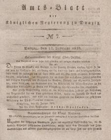 Amts-Blatt der Königlichen Regierung zu Danzig, 13. Februar 1839, Nr. 7