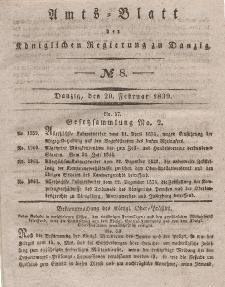 Amts-Blatt der Königlichen Regierung zu Danzig, 20. Februar 1839, Nr. 8