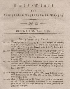 Amts-Blatt der Königlichen Regierung zu Danzig, 27. März 1839, Nr. 13