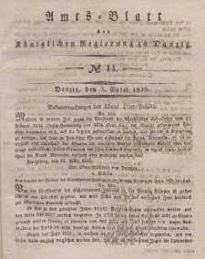 Amts-Blatt der Königlichen Regierung zu Danzig, 3. April 1839, Nr. 14