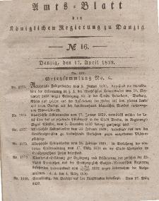 Amts-Blatt der Königlichen Regierung zu Danzig, 17. April 1839, Nr. 16