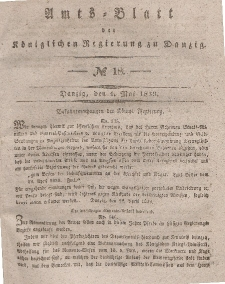 Amts-Blatt der Königlichen Regierung zu Danzig, 1. Mai 1839, Nr. 18