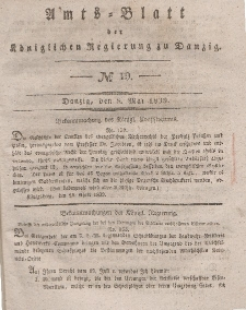 Amts-Blatt der Königlichen Regierung zu Danzig, 8. Mai 1839, Nr. 19