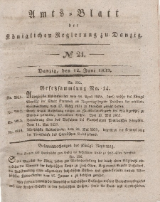 Amts-Blatt der Königlichen Regierung zu Danzig, 12. Juni 1839, Nr. 24