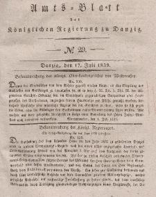 Amts-Blatt der Königlichen Regierung zu Danzig, 17. Juli 1839, Nr. 29