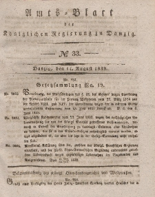 Amts-Blatt der Königlichen Regierung zu Danzig, 14. August 1839, Nr. 33