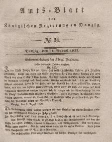 Amts-Blatt der Königlichen Regierung zu Danzig, 21. August 1839, Nr. 34