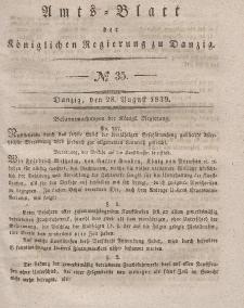 Amts-Blatt der Königlichen Regierung zu Danzig, 28. August 1839, Nr. 35