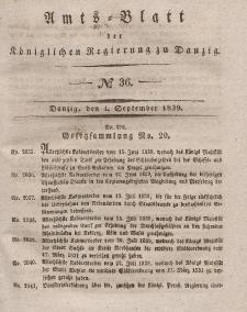 Amts-Blatt der Königlichen Regierung zu Danzig, 4. September 1839, Nr. 36