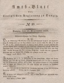 Amts-Blatt der Königlichen Regierung zu Danzig, 25. September 1839, Nr. 39