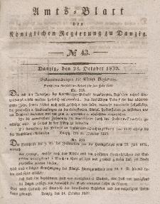 Amts-Blatt der Königlichen Regierung zu Danzig, 23. Oktober 1839, Nr. 43
