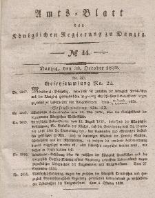 Amts-Blatt der Königlichen Regierung zu Danzig, 30. Oktober 1839, Nr. 44