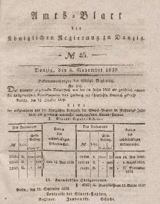 Amts-Blatt der Königlichen Regierung zu Danzig, 6. November 1839, Nr. 45
