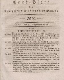 Amts-Blatt der Königlichen Regierung zu Danzig, 11. Dezember 1839, Nr. 50