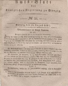 Amts-Blatt der Königlichen Regierung zu Danzig, 16. August 1837, Nr. 33