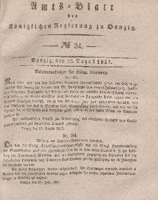 Amts-Blatt der Königlichen Regierung zu Danzig, 23. August 1837, Nr. 34