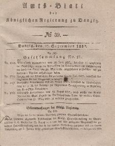 Amts-Blatt der Königlichen Regierung zu Danzig, 27. September 1837, Nr. 39