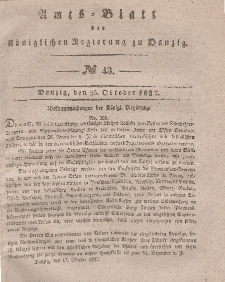 Amts-Blatt der Königlichen Regierung zu Danzig, 25. Oktober 1837, Nr. 43
