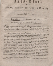 Amts-Blatt der Königlichen Regierung zu Danzig, 20. Dezember 1837, Nr. 51