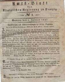 Amts-Blatt der Königlichen Regierung zu Danzig, 2. Januar 1833, Nr. 1