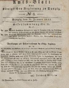 Amts-Blatt der Königlichen Regierung zu Danzig, 16. Januar 1833, Nr. 3