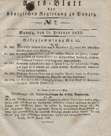 Amts-Blatt der Königlichen Regierung zu Danzig, 13. Februar 1833, Nr. 7