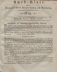 Amts-Blatt der Königlichen Regierung zu Danzig, 6. März 1833, Nr. 10