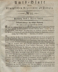 Amts-Blatt der Königlichen Regierung zu Danzig, 3. April 1833, Nr. 14