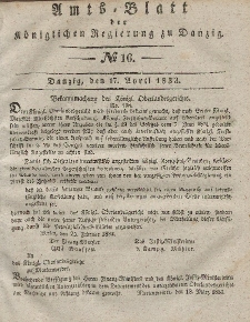 Amts-Blatt der Königlichen Regierung zu Danzig, 17. April 1833, Nr. 16