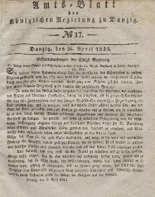 Amts-Blatt der Königlichen Regierung zu Danzig, 24. April 1833, Nr. 17