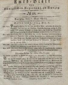 Amts-Blatt der Königlichen Regierung zu Danzig, 1. Mai 1833, Nr. 18