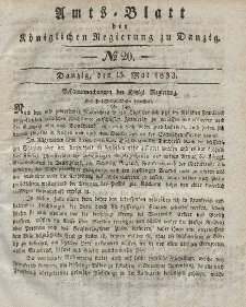 Amts-Blatt der Königlichen Regierung zu Danzig, 15. Mai 1833, Nr. 20