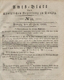 Amts-Blatt der Königlichen Regierung zu Danzig, 12. Juni 1833, Nr. 24