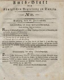 Amts-Blatt der Königlichen Regierung zu Danzig, 10. Juli 1833, Nr. 28