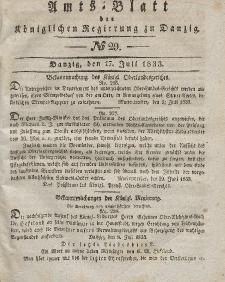 Amts-Blatt der Königlichen Regierung zu Danzig, 17. Juli 1833, Nr. 29