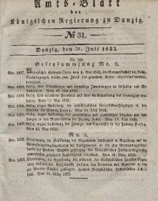 Amts-Blatt der Königlichen Regierung zu Danzig, 31. Juli 1833, Nr. 31